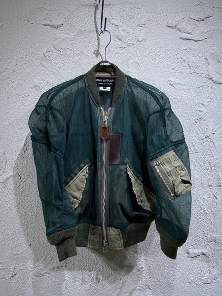 JUNYA WATANABE COMME des GARCONS/Tulle Bomber Jacket/XS/カーキ